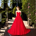 Uma Linha de Vestidos De Noite Longo Rendas 2017 Querida Aberto Para Trás Sexy Cintas de Espaguete Vestido de Festa Robe de Mariee Rouge Robe De Mariee