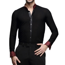 Hot Sale Men's Latin Dance Tops Long Sleeve Shirts Dance Ballroom Dance Dress Lapel/Stand Collar Clothes