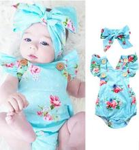 Hot Childrens Clothing 2019 Spring Baby Girl Clothes for 1-2 Years Conjoined Romper Floral Newborn FZ2193