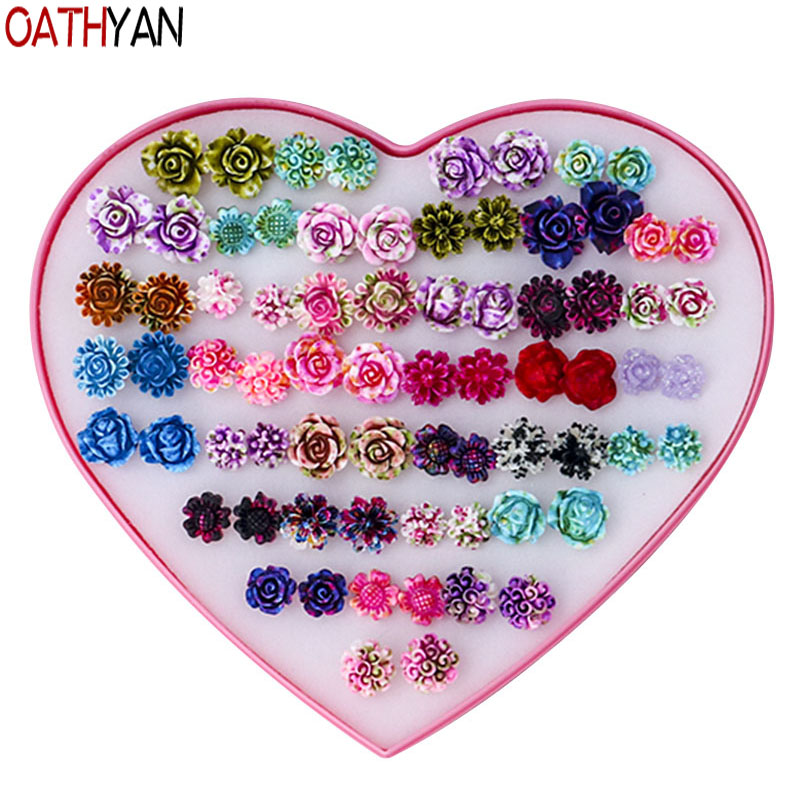 OATHYAN 36 Pairs/Set Fashion Rose Flower Stud Earrings Set Mixed For Women Girl Vintage Resin Small Earring Retro Jewelry Gift