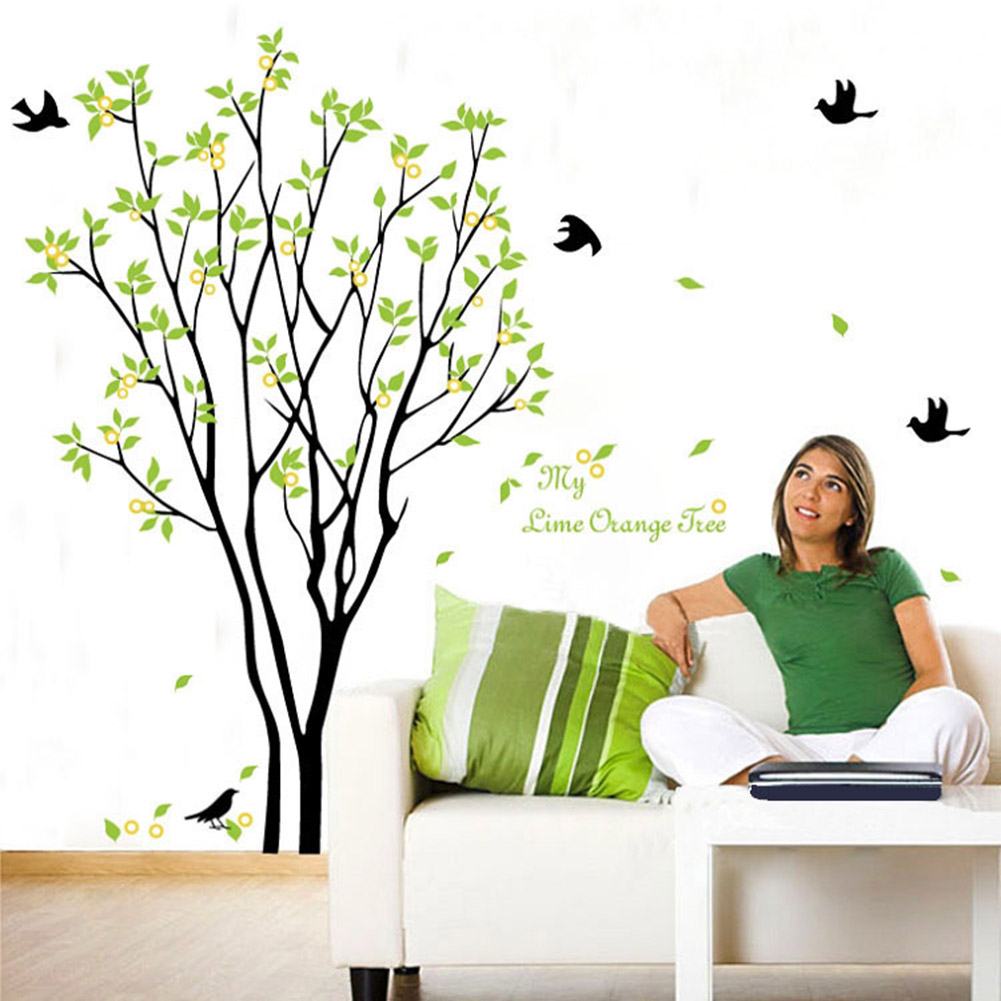 Tree birds wall sticker decals green plants adhesive - Cheap wall decals for living room ...