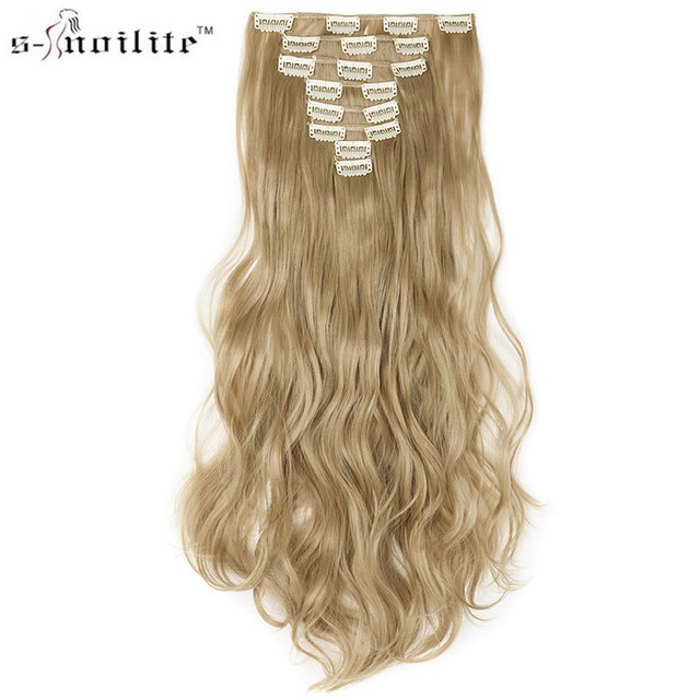 Snoilite 17 Women Long Curly Synthetic 18 Clip In Hair Extension