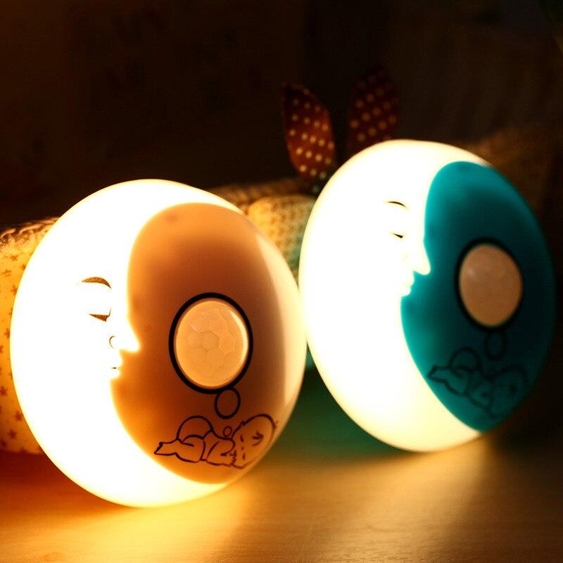 2017 Novelty Motion Sensor LED Night Light Crescent Moon USB Rechargeable Cartoon Night Lamp Bedroom Lights Wall Light Luminaria