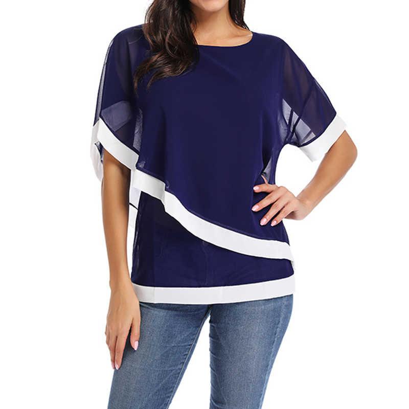 Blusa de Chiffon 2019 Nova Casual Mulheres Tops e Blusas Moda Patchwork Camisa de Manga Curta Blusas Camiseta Mujer Plus Size 5XL