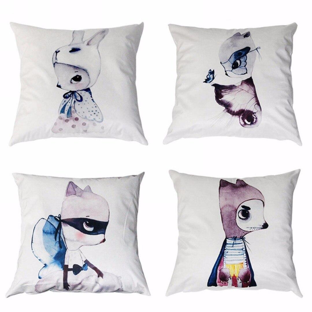 Horse shaped pillows for children - Mayitr Kids Lovely Living Room Cushion Cover Rubbit Short Plush Throw Waist Pillow Case Soft Decoration