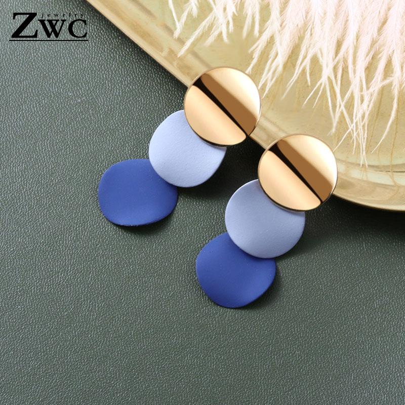 ZWC 2019 Vintage Earrings Large For Women Statement Earrings Geometric Golden Color Metal Pendant Earrings Trend Fashion Jewelry