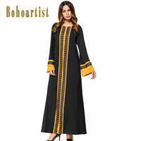 Bohoartist Apparel Long Dresses Women Floral Patchwork Flare Sleeve Print O Neck Summer Bohemia Elegant Maxi