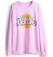 Hot Sale 2016 Spring Winter Women Hoodies Fleece High Quality Sweatshirt Kawaii Cute Pink Barbie Pullover