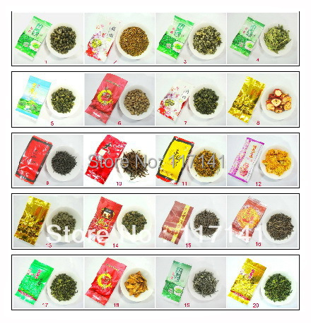 Buy 5 get 1  20 Different Flavor Famous Tea Chinese Tea,Ginsen oolong,TieGuangYin,Milk oolong,Dahongpao,free shipping