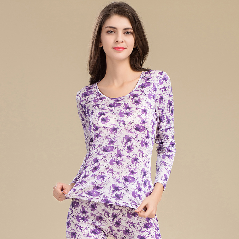 Un nouveau printemps 100% pur soie à tricoter T-shirt impression dame sous-vêtement thermique ensembles longs Johns