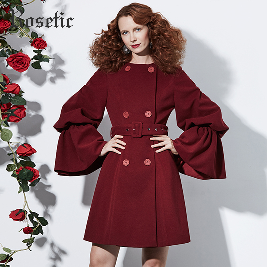 Rosetic Lace-Up Sashes Outerwear Women AutumnV-Neck Long Jacket Lantern Long Sleeve Burgundy Color Buttons New Gothic Coats gothic lace up tiered women s long dress