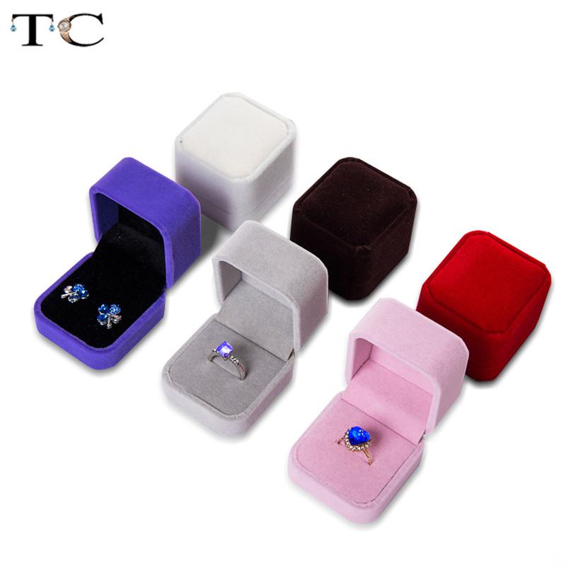 8 Colors Jewelry Display Box Earrings Ring Boxes Foldable Case For Wedding Ring Valentine's Day Packaging Gift Box 5*4.5*4cm