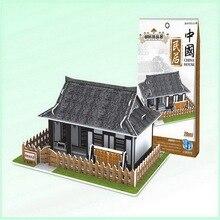 Papel 3D puzzle modelo de construção montar brinquedos crianças presente de aniversário estilo Chinês casa velha Antiga Coreia Do Norte Coreano casa 1 pc
