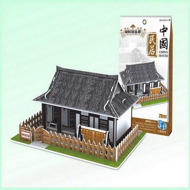 Captivating Papier 3D Gebäude Modell Montieren Spielzeug Kinder Geburtstagsgeschenk  Puzzle Chinesischen Stil Altes Haus Alte Nordkorea Koreanische