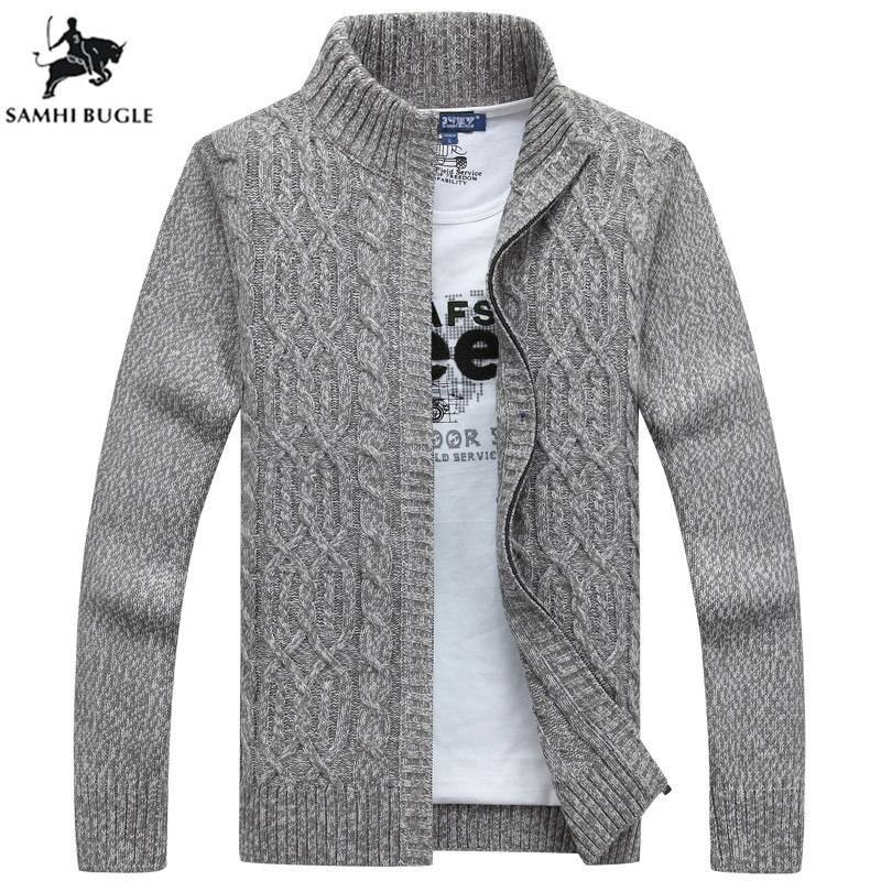 Mens Sweaters For 2019 Winter Thickening Warm Cashmere Sweater Men Fashion Zipper Cardigan Men Grey Black Sweater Men