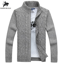 Man Sweater Casual Men cardigan thick cashmere sweater outerwear winter Brand Gray Blue