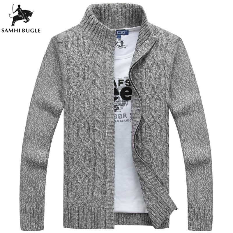 0999c2f24b375fc SAMHIBUGLE бренд мужской свитер повседневный мужской кардиган толстый  кашемировый свитер верхняя одежда Зимний серый синий