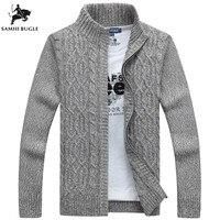 SAMHIBUGLE Brand Man Sweater Casual Men cardigan thick cashmere sweater outerwear winter Gray Blue