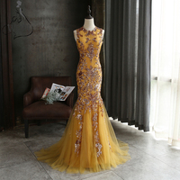Vestido De Festa Luxury Evening Gowns Gold Sequined Appliques Mermaid Prom Dresses Long Arab Formal Party