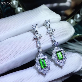 Fashion Lovely water drop S925 silver natural green diopside drop earrings natural gemstone women birthday party gift jewelry