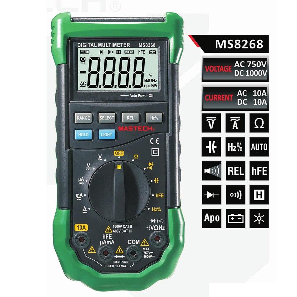 Mastech MS8268 Alcance Manual Multímetro Digital para AC/DC Tensão Corrente de Teste com Ohm Capacitância Medição de Freqüência