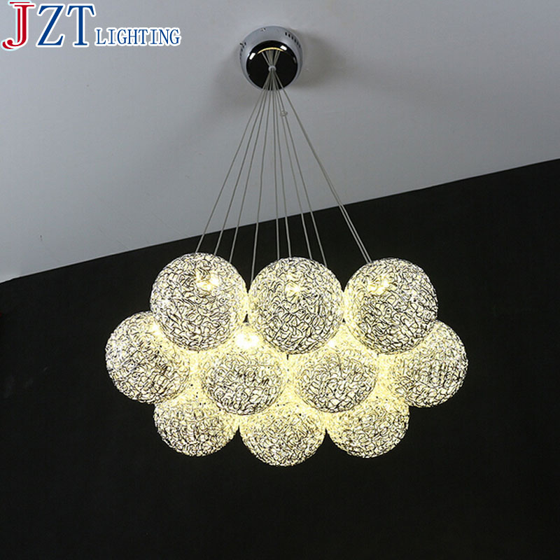 M Best Price 10 Head Modern Concise Aluminum Led Pendant Light 12cm Aluminum Wire Ball Lamp Shade G4 LED Warm/Cool White Light brass half round ball shade pendant light led vintage copper wooden lighting fixture brass wood fabric wire pendant lamp