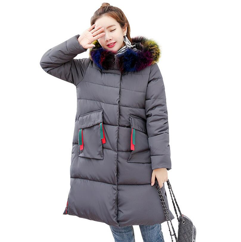 2017 new winter fashion brand colorful fur collar hooded down jacket female thick warm down cotton coat outwear s1211 2017 men down jacket winter warm collar fur trim hood coat outwear puffer down cotton long jacket clothes thick canada cheap top