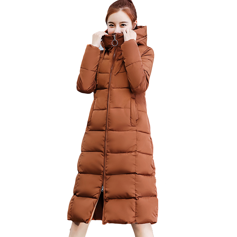 thicken down cotton jacket 2018 new long slim women coats padded winter warm hooded female outerwear plus size parkas YP1194