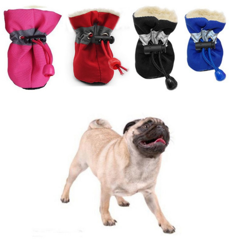 4pcs Waterproof Winter Pet Dog <font><b>Shoes</b></font> Anti-slip Rain Snow Boots Footwear Thick Warm For Small Cats Dogs Puppy Dog Socks Booties image