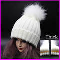 mink and fox fur ball cap pom poms winter hat for women girl 's wool hatknitted cotton beanies cap brand new thick female cap