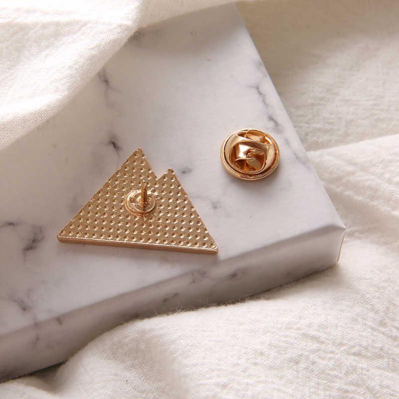 Biru Putih Tumpang Tindih Hill Pin Tinggi Gunung Kerah Enamel Pin Bros untuk Wanita Tertutup Salju Puncak Gunung Lencana Perhiasan Hadiah