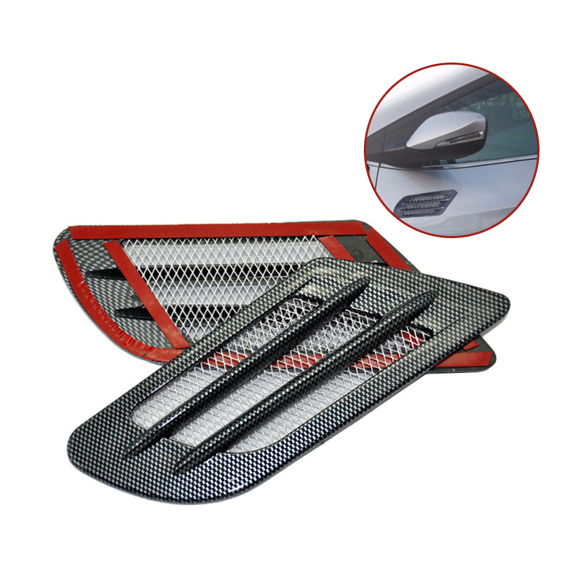 2pcs Never Fade Carbon Fiber Sticker Car Styling Side Air Flow Vent Fender Hole Cover Intake Grille Duct Decoration Sticker