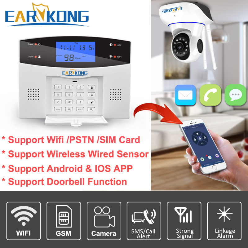 Wired Wireless 433MHz Wifi PSTN GSM Home Burglar Security Alarm System Smart Home Relay Output APP Russian Spanish 7 language in Alarm System Kits from Security Protection