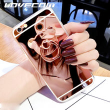 LOVECOM For Huawei P9 Lite P10 P20 Honor 7 8 Mate 7 8 9 DIY Fashion Bear Ring Brackets Holder Stand Mirror Soft TPU Phone Cases(China)