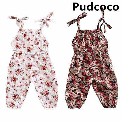 casual cotton sleeveless cute Kids Baby Girls Infant Floral Halter Sling Romper Cotton Clothes Outfits