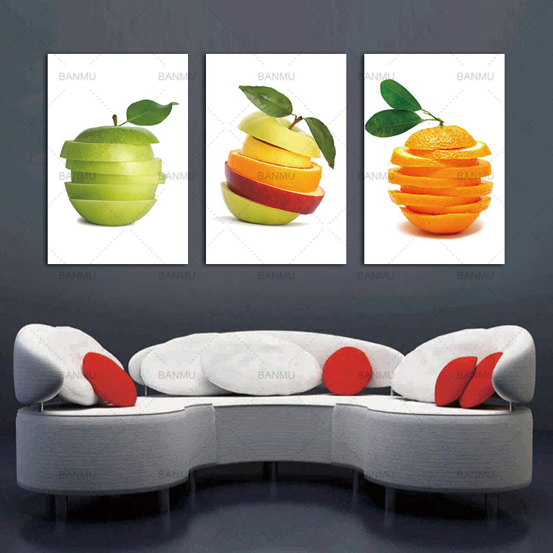 3 Pieces Kitchen Wall Pictures Fruit Canvas Painting Modern Dining Room Decoration Print On Canvas Green Apple And Oranges Cuts