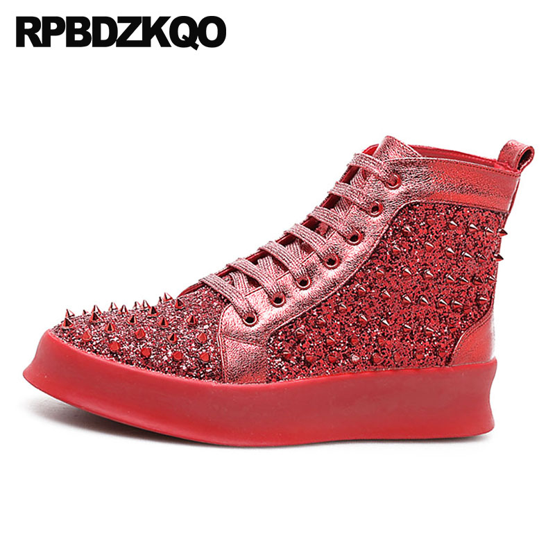 forme Sequin Black Métallique High Skate Hanche Chaussures red Rivet De Rouge Hop black Elevator Hommes D'oreille Mode Casual Club Elevator Plate Creepers red silver Silver Spike Glitter Sneakers Top Elevator silver nw0O8Pk