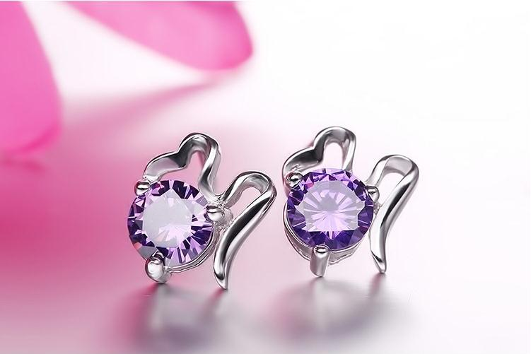 100 925 sterling silver high quality shiny crystal stud earrings for women jewelry wholesale Christmas gift drop shipping cheap in Stud Earrings from Jewelry Accessories
