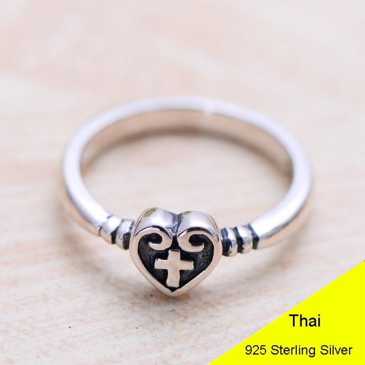925 Sterling Silver Retro Women Love Cross Ring Thai Silver Fine Jewelry Gift Finger Ring CH043040