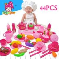 MylitDear PinkChildren Kitchen Set Pretend Gioca Cut Utensili Giocattolo 44 PZ Frutta Verdure di Plastica Per Bambini Cuocere il Cibo Eduacation Gioco