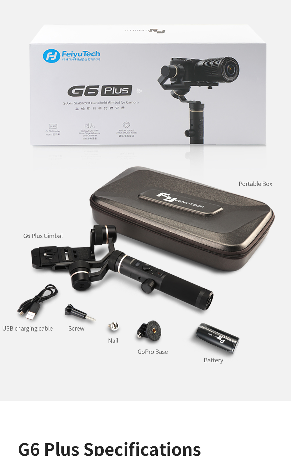FeiyuTech G6 Plus 3-Axis Handheld Gimbal Stabilizer for Mirrorless Camera Pocket Camera GoPro Smartphone Payload 800g Feiyu G6P 15
