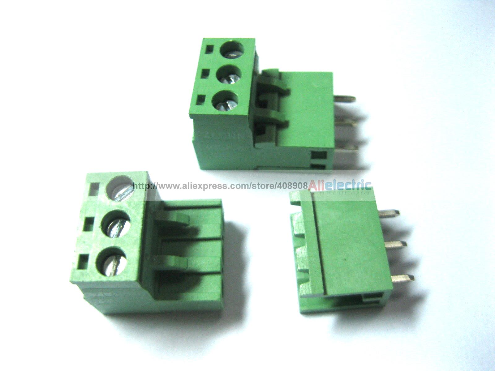 60 Pcs Green 3 Pin 5.08mm Screw Terminal Block Connector Pluggable Type 30 pcs 5 08mm angle 16 pin screw terminal block connector pluggable type green