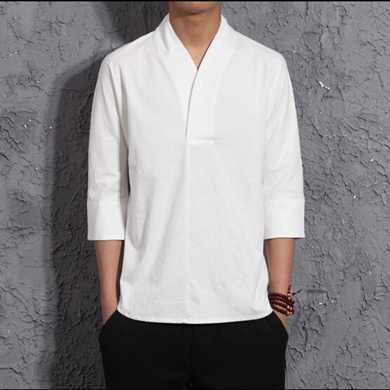 National Style Mens V Collar Casual Linen T Shirt Three