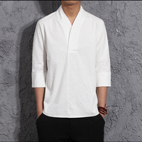 National Style Mens V Collar Casual Linen T Shirt Three Quarter Sleeve Loose T Shirt Summer Retro Thin Shirt