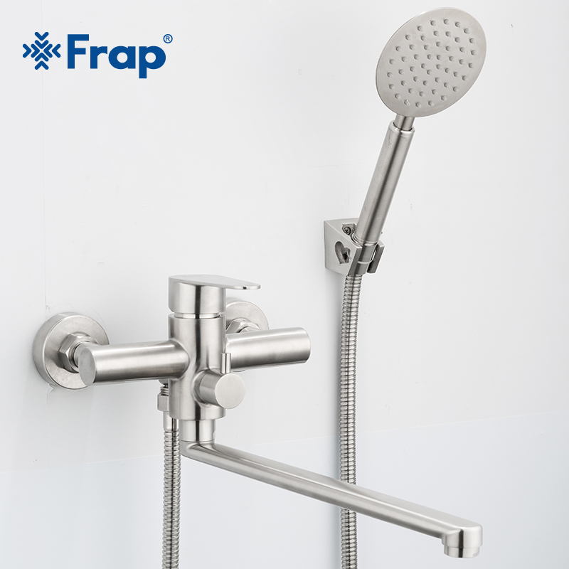 Frap New Shower Faucets Classic Bathtub Faucet Single Holder Long Nose Stainless Steel Bathroom Faucet Bath Mixer Tap F2248