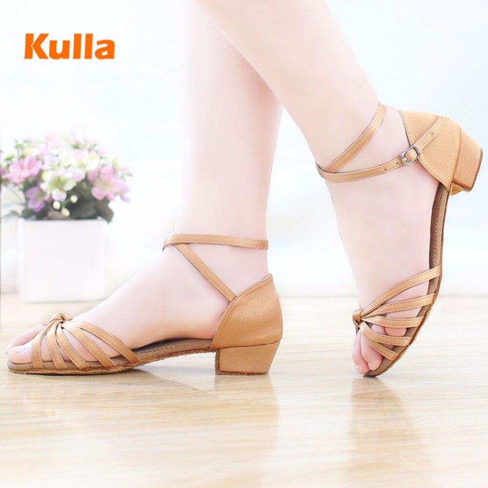 KULLA Ballroom Salsa Tango Latin Dance Shoes Children Low Heels Dancing For Kids Girls Women Zapatos