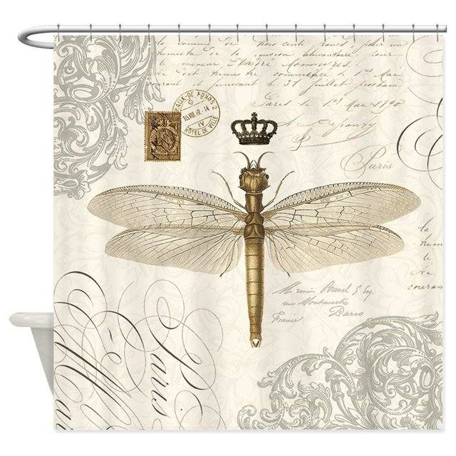 Modern Vintage French Dragonfly Shower Curtain Decorative Fabric 12 Hooks Curtains Bath Customize Wholesale