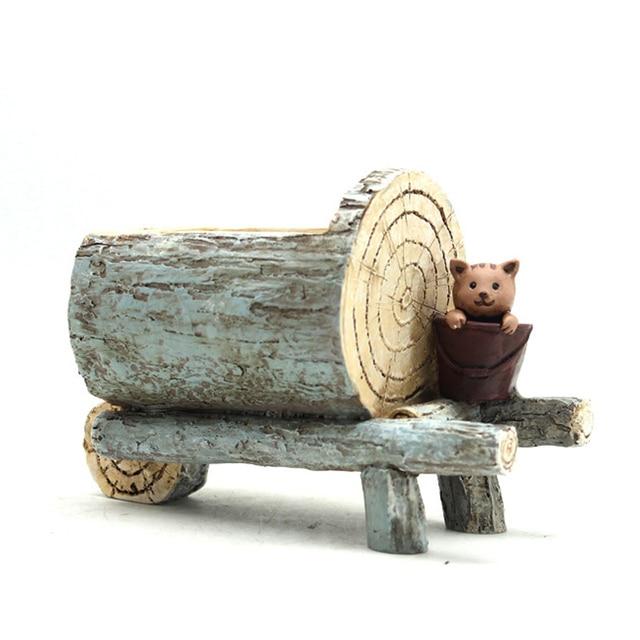 Roogo ジセラミックフラワーポットレトロ木材パイルシリーズモスポットガーデン用品装飾花瓶と多肉植物花ケース樹脂おもちゃの車ギフト