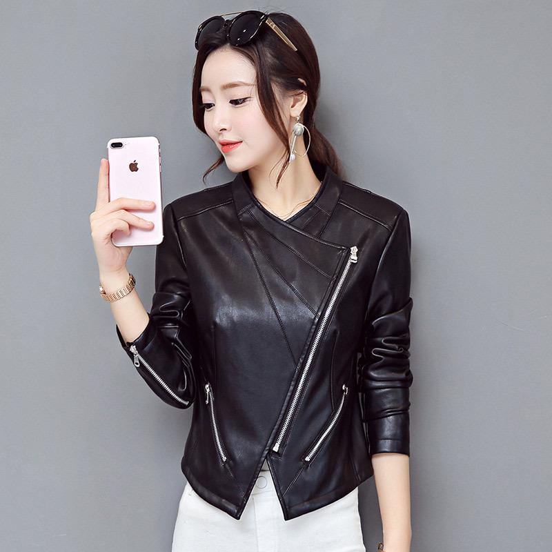Spring And Autumn 2019 Korean Edition Short Style Pu Water-washed   Leather   Jacket Locomotive Coat