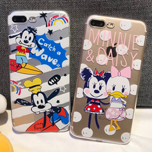 Cute cartoon Mickey Minnie Goofy case for iphone 5'5s'se'6'6s'7'8'X plus capa fashion Transparent Soft Silicone phone case Cover